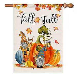 KamaLove Hello Fall House Flag.Double Side Gnomes Pumpkin Burlap Fall Flags,Farmhouse Autumn Seasonal Holiday Yard Outdoor Decorations 28x40 Inch