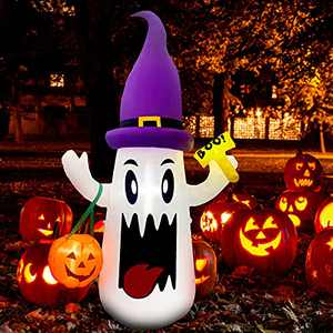6FT Halloween Inflatables Outdoor Decorations Cute White Ghost with Pumpkin, Inflatables Built in LED Lights, Blow Up for Halloween Party Outdoor, Indoor, Yard, Garden, Lawn Decorations
