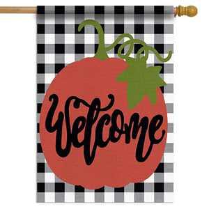 Dazonge Fall Decor for Home | Fall House Flag 28''X40'' | Double Sided Buffalo Plaid Farmhouse Flag | Rustic Fall Decor for Home | Fall Yard Decorations