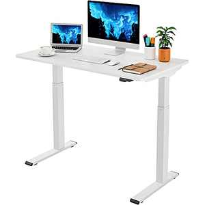 """Flexispot White Standing Desk 5-MIN Quick Install Electric Stand Up Desk, Height Adjustable Desk for Home Office 48 x 24 Inches Sit Stand Desk Whole-Piece Desk Board VICI(White Frame + 48"""" White Top)"""