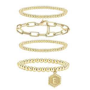 Shownee Gold Beaded Bracelets for Women Set Stackable Bead Bracelet 14K Gold Plated Chunky Stretch Bracelets for Women Men Gift with Initial E Hexagon Pendant