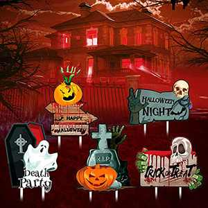 Halloween Decorations and Yard Signs with Stakes-No Soliciting Sign for house,Yard Signs for Home,Porch Decorations Outdoor,Halloween Pumpkin Ghost Skull for Outdoor Decorations