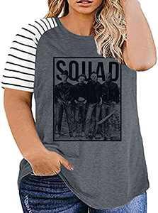 UNIQUEONE Women Plus Size Halloween Squad Shirt Hocus Pocus Striped T-Shirt Casual Graphic Short Sleeves Top Tees