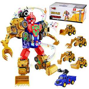 Construction Trucks Robot Kids Toys Playset, STEM Building Toddler Toys, Transform Robot Play Vehicles with Sound & Light Effect