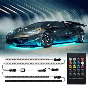 Exterior Car Led Lights,Meelooks Underglow Lights with Waterproof ,RGB,16million Colors with Music Mode,4 Led Strip Lights with 12v 180 LEDsfor All Cars ,Trucks ,Boat