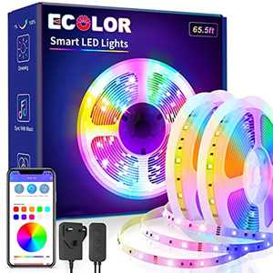 20M Bluetooth Led Strip Lights, ECOLOR Smart RGB Long Strips Lights with App Control and Remote, Music Sync Color Changing Lights for Bedroom, Kitchen, Staircase, Balcony, Bar or Restaurant