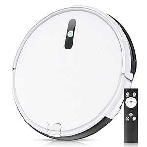 Robot Vacuum Cleaner, Smart Self-Charging Auto Vacuum Cleaner Robot, Slim and Quiet, with Remote Control, Ideal for Pet Hair, Hard Floors and Low-Pile Carpets, White
