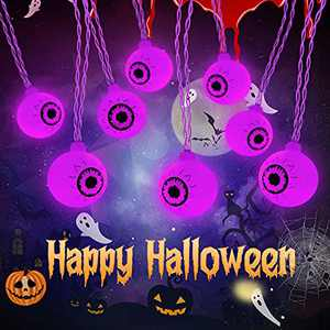 30 LED Halloween Eyeball String Lights, Battery Operated Waterproof Cute Eyeball String Lights for Outdoor and Indoor Garden, Yard, Home, Party, Halloween Decoration (Purple)