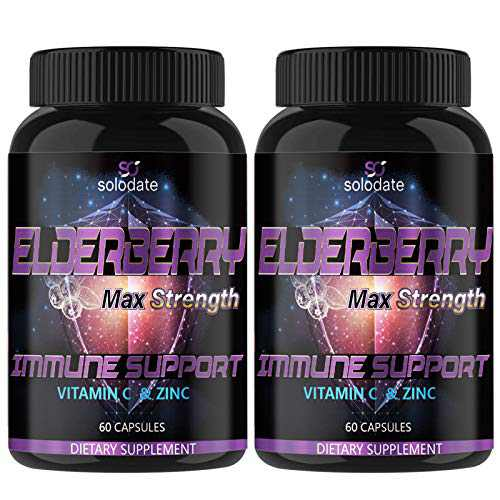 Pack of 2, Elderberry Capsules,Concentrated Sambucus Extract,Antioxidant and Enhance Skin Elasticity,60 Capsules