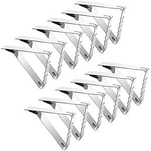Tablecloth Holders Clip,Flexible Picnic Table Clips,Stainless Steel Table Cloth Cover Clamps (12 Pack)