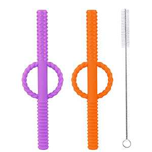 INTATIKOO Baby Teething Toys, Baby Teether Tubes, Soft Silicone Teething Straws for Babies,Handle Design Prevent Choking and can Use as a Straw,BPA Free,Easy to Clean,Purple & Orange