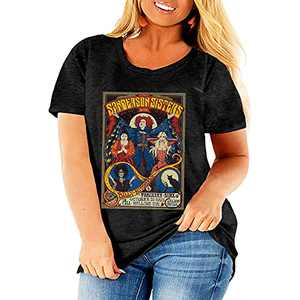 Ownow Women Sanderson Sisters Halloween Plus Size T-Shirts Cute Hocus Pocus Graphic Tee Classic Halloween Movie Saying Tops
