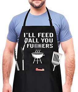 I'll Feed All You - Funny Aprons for Men, Women with 3 Pockets - BBQ Grill Grilling Cooking Kitchen Mens Apron Christmas Birthday Gifts for Men, Dad, Husband, Wife, Boyfriend, Friend