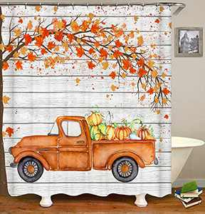 Fall Shower Curtain Truck with Pumpkins Autumn Maple Leaves Farmhouse Decorative Shower Curtain for Bathroom Waterproof Fabric Bath Curtain Set with Hooks 72x72 Inch