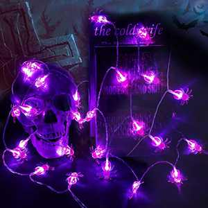 Spider Lights Halloween Decorations,2 Pack 30 LED Spider Lights Halloween String Lights,10.5Ft 2 Modes Purple Halloween Lights Battery Operated for Indoor Outdoor Halloween Decor