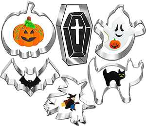 6 Pcs Halloween Cookie Cutters Set, Stainless Steel Cookie Cutters Mold with Pumpkin, Bat, Ghost, Cat, Witch, Coffin, Holiday Cookie Cutters for Fondant Icing Cookies