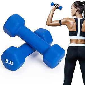 TopMade Dumbbell Set, 2lb A Pair Neoprene Coated Cast Iron Dumbbells Hand Weights Set Barbell Exercise Fitness Hex Dumb Bell Free Weight Dumbbell Set for Women Men Home Gym Workout Strength Training