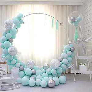 Blue Balloon Arch Garland Kit, 130Pcs Silver Balloons and Silver Confetti Latex Balloons for Kids Family Wedding Birthday Party Supplies, Blue Party Balloons for Party Background Decorations-01