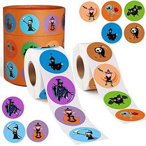 """Halloween Stickers, 1000PCS 1.5"""" Halloween Sticker Bulk with 8 Designs, Cute Round Roll Self Adhesive Scrapbook Label Decals for Treat Bags Goodie Bags Decoration"""