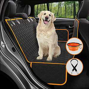 ILIENSA Dog Car Seat Cover for Back Seat, Pet Car Seat, Dog Hammock for Car with Pets Seat Belts and Travel Bowl, Waterproof Scratchproof Nonslip Durable Pets Seat Covers for Car Trucks SUVs