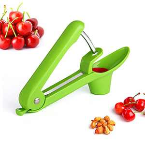 Cherry Pitter Tool, TRISCO Cherries Pitter Corer Olive Seed Remover Pitter Kitchen Fruit Coring Tool (Green)