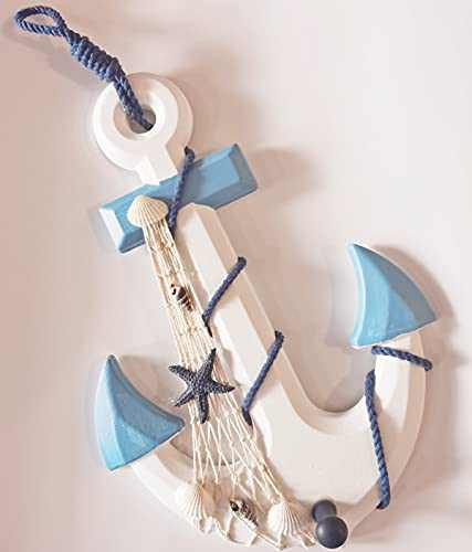 13 inch Nautical Wooden Anchor with Rope Fishing Net Shell Home Wall Decor Hanging Ornament Beach Theme Home Decoration Mediterranean Style Crafts Blue and White