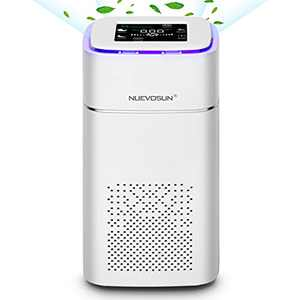 NUEVOSUN H-30 Air Purifier with H13 True HEPA Filter   for Desktop, Bedroom Quietly at 22db   Capture 99.97% Allergens Dust Smoke Pollen   Sleep Mode, Timer, PM2.5 Display   White, 1-Pack