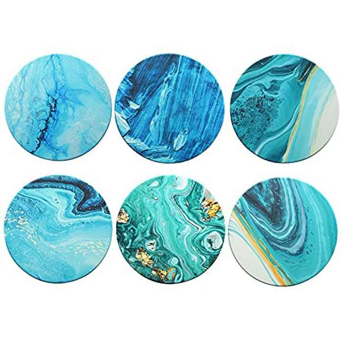 Pulchram 6Pcs Drink Coasters 4 Styles with Non-Slip Cork, Absorbent Coaster Set for Gift, Drinks coasters coffee coasters (Purple Planet)