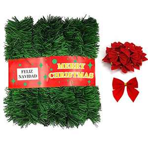 INPHER 72 Feet Christmas Garland with 36 Bow Home Decorated Garlands Artificial Pine Soft Green Christmas Decoration for Holiday Home Garden Wedding Party Stairs Fireplaces