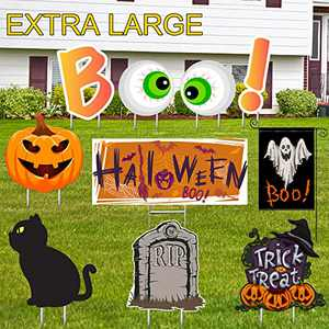 Halloween Yard Signs Decoration Kit, Ghost Flag and Lawn Decor Signs with Stakes Large Halloween Pumpkin Tombstone Boo Signs for Halloween Party