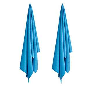 Beach Towels 2 Pack, 28x 55 Inches Quick Dry Towel Set for Pool/ Spa/ Gym ,Microfiber Highly Lightweight Embossing Bath Towels, Blue