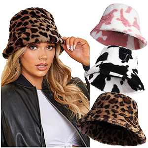 3pcs Fuzzy Bucket Hats for Women, Cow Leopard Faux Fur Bucket Hats Furry Winter Hats