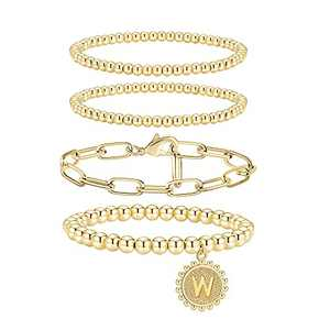 Doubgood Beaded Bracelets for Women Set Gold Bead Bracelet 14K Gold Plated Chunky Stackable Stretch Bracelets for Women Men Gift with Initial W Pendant