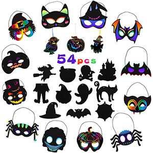 ThinkMax 54 pcs Halloween Rainbow Scratch Art Mask Set,Magic Scratch Art Card Paper,12halloween Theme mask and 42 Hanging Art Craft Supplies, DIY Halloween Craft Ornaments.