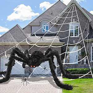 """Halloween Spider Web Decorations 200"""" Giant Spider Web + 79 Inches Giant Spider Decoration for Halloween Outdoor Yard Party Haunted House Decor with 60g Stretch Cobwebs and 20 Fake Spiders"""