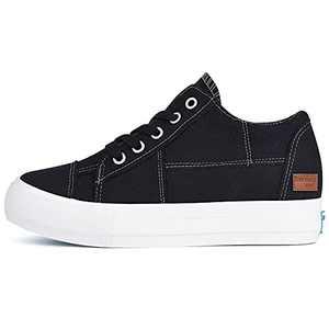 Women's Fashion Platform Sneakers Low Top Canvas Flats Lace-up Side Zipper Casual Comfortable Walking Shoes Black