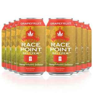 Race Point Seltzer Sparkling Flavored Water - Naturally Grapefruit Flavor, Non-GMO, Zero Sugar Added, 0 Sodium, Pack of 8 Seltzer Water Cans (Grapefruit)