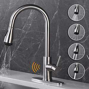 AMAZING FORCE Touchless Kitchen Faucet Single Handle with 4 Modes Pull Down Sprayer, Automatic Motion Sensor Kitchen Sink Faucet with Fingerprints Resistant, Brushed Nickel