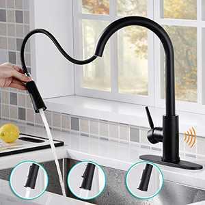AMAZING FORCE Touchless Kitchen Faucet with 2 Modes Pull Down Sprayer, Single Handle Automatic Motion Sensor Kitchen Sink Faucet with Fingerprints Resistant, Matte Black