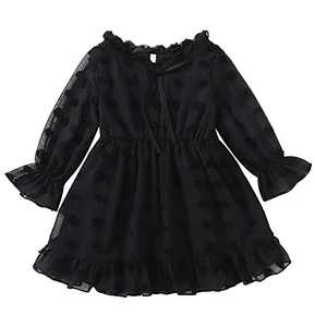 Mommy and Me Matching Dresses Kids Swiss Dot Babydoll Dresses for Fall Black 5Y