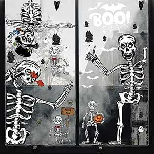 Halloween Window Clings, Double Sided Skeleton Bat Spider Decals Stickers for Glass Window, Halloween Party Decor, 6 Sheets 69PCS