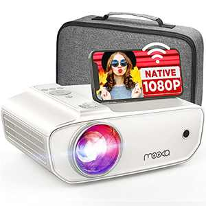 """MOOKA Native 1080P Projector with WiFi , 8500L HD Movie Projector for Outdoor Use, Zoom, Sleep Timer, HiFi Speaker, Support 300"""" Screen Home Halloween Projector for Phone/TV Stick/PC/ Laptop/ PS4/Xbox"""
