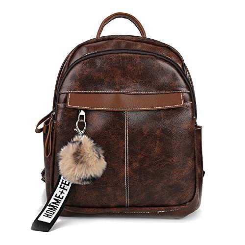 Small Backpack Purse for Women Leather Shoulder Bags Multi Pocket Lightweight Purses and Handbags with Pom for Travel Brown