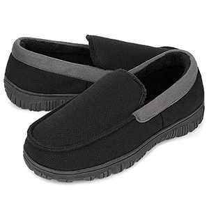 Bigwow Moccasin Slippers for Men Memory Foam House Shoes Indoor Outdoor Comfort Mens Moc Slippers Size 14 Black
