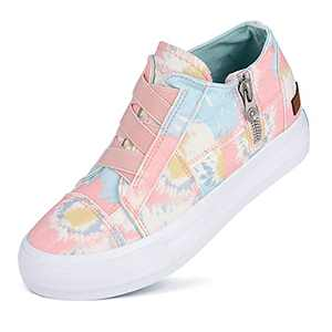 JENN ARDOR Women Platform Sneakers Hidden Wedge Canvas Shoes Fashion Walking Slip On Sneaker Non Slip with Zipper