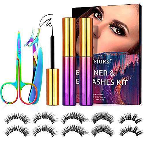 LEIUKS 5D Magnetic Eyelashes, Magnetic Lashes with Eyeliner Kit, 5 Pairs Magnetic Eyelashes, Tweezers, Scissor, 2 Tubes Magnetic Eyeliner - Easy to Wear