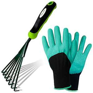 Tenozek Hand Rake Garden Tool Stainless Steel Soil Tiller with Ergonomic Handle,Small Fan Lawn Grass Leaf Rake with Garden Gloves for Sweep & Picking Up Leaves,Gardening, Cultivating, Loosening Soil