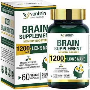 Brain Booster, 60 Capsules Lion's Mane Supplement for Boosting Energy and Memory, Brain Pills for Nootropic Power & Focus & Clarity Support, Vegan Friendly