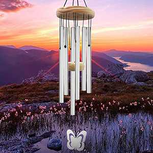 LUOLAI Wind Chimes Outdoor Clearance, 30'' Sympathy Wind Chime for Outside Deep Tone with 6 Tubes Tuned Soothing Music for Home Garden Patio Backyard Decor, Great as Memorial Gifts