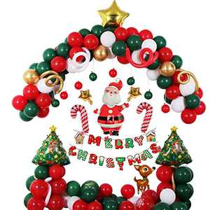 Christmas Balloon Garland Arch, Halema Red Green Gold Christmas Party Decorations with Santa Claus, Christmas Candy, Xmas Tree, Elk and Star for Xmas Party Decorations, Family Party, Office Party